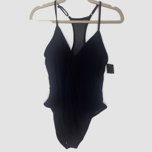 New! Black Mossimo Mesh Detail One Piece Large
